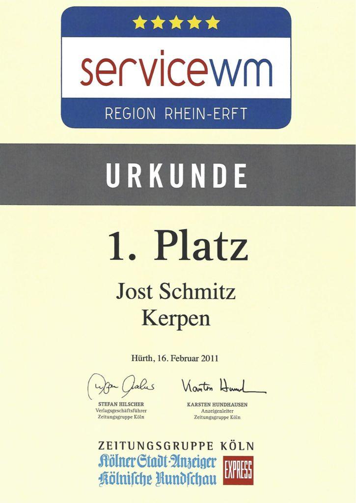 Jost Schmitz - Service Urkunde