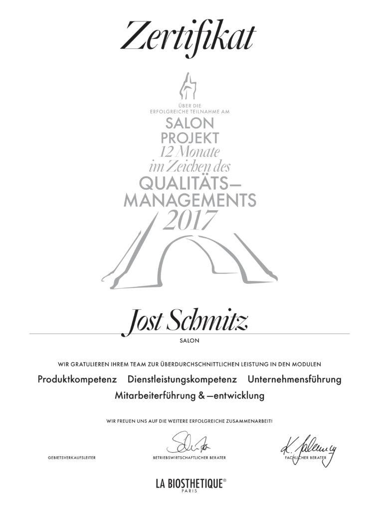 Jost Schmitz - Service und Qualitaet Zertifikat
