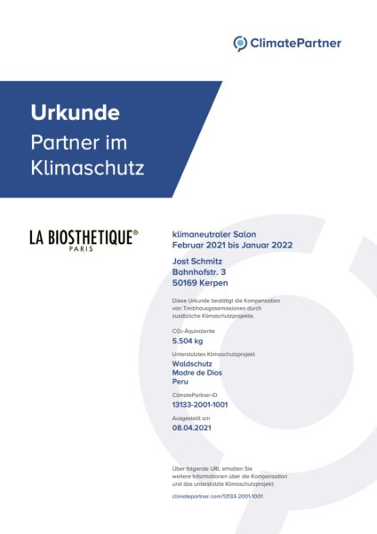 Urkunde Klimaneutraler Salon - Jost Schmitz Kerpen
